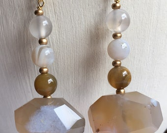 Camel and cream earrings