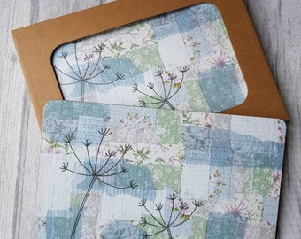 Set of 4 placemats, melamine placemat, cow parsley placemat, botanical tableware, textile art placemat, wedding gift, new home gift