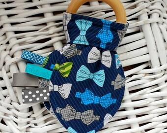 Blue Bow Tie Crinkle Teething Toy - Organic Wood/Fleece, Baby Boy, Natural Teething Remedy, Teether, Baby Stocking Stuffer