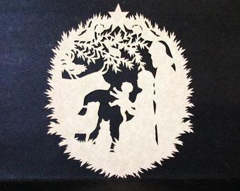 Scissor Cut Scherenschnitte, Scherenschnitte Nativity, Framed Christmas Nativity, Papercut Nativity Silhouette, Christmas Decor, Christmas