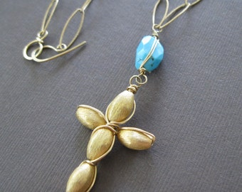 Sleeping Beauty Turquoise Wire Wrapped Vermeil Handmade Cross Long Necklace - Sample Sale