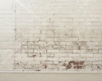 Digital Download, Old Painted Brick Wall, Cement Floor, Cream White Paint Peeling Brick Wall, Stock Photo, Mock Up Background, Urban Grunge