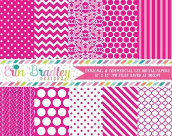 80% OFF SALE Hot Pink Digital Paper Pack Polka Dots Damask Chevron and Striped Background Patterns Digital Scrapbooking