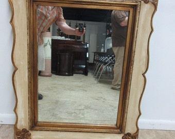 Vintage Wood Carved Gold Gilt Italian Regency Wall Dresser Mirrors