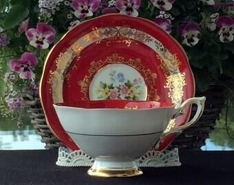 Teacup Tea Cup and Saucer - Superb Royal Standard Deep Red Cabinet Set 12962