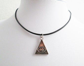 Osiris triangle leather cord necklace