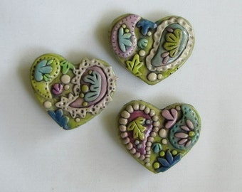Paisley Magnets, Set of 3 Rustic Paisley Magnets. Refrigerator Magnet, Whimsical Heart Magnets