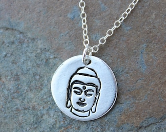 Meditating Buddha Necklace- Handmade small fine silver disc charm - Zen, Wisdom, Buddhism, Yoga, Peace, Meditation- free shipping USA