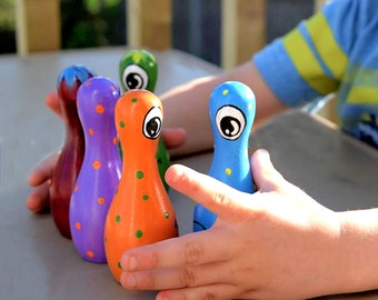 """5 Pin Tabletop Wood Game -  4"""" Monster Toy Bowling Pin and Ball - Monster Toy Wooden Bowling Game - Monster Toy Tabletop Wooden Bowling Game"""