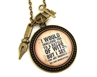 William Shakespeare Necklace- Literary Quote Necklace- Witty Literary Quote Jewellery- Literary Jewellery- Book Lover Gift- Reader Gift