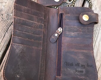 Mens Wallet Leather, Mens Wallet Personalized, Chain Wallet, Personalized Leather Wallet Mens Long Wallet, Slim wallet Personalized Wallet