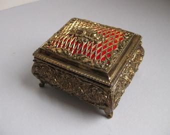 Vintage gold jewelry casket 1960s trinket box
