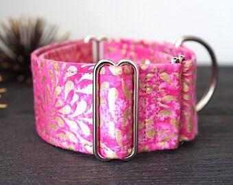 Martingale collar, Greyhound Collar, Galgo Collar, Saluki Collar, Sighthound Collar, Indian Batik Collar, Metallic Collar, Pink Dog Collar