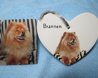 Pet Portrait or Memorial Hand painted Ceramic Made to Order Using Your Photo any animal Chow Chow by Shannon Ivins
