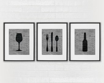 Modern Dining Room Art Prints - Black & White Kitchen - Beer Wine Fork Knife Spoon - Set of 3 Dining Room Art - Kitchen Wall Decor