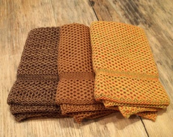 Dishcloths Knit in Cotton in Saffron, Orange/Mustard/Leek and Dk Brown/Acorn/Goldenrod, Knit Dishcloth, Knit Washcloth, Dish Cloth