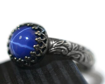 Star Sapphire Ring, Engravable Engagement Ring, Personalized Gemstone Ring, Synthetic Blue Sapphire Jewelry,