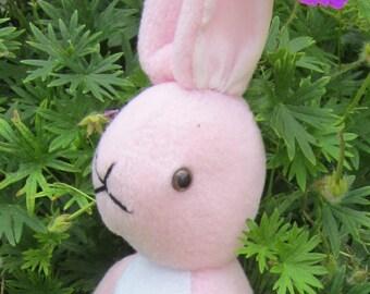 Stuffed Fleece Rabbit Pink Stuffed Bunny Kid's First Toy Ornamental Present Christening Present Nursery Decoration Fun Toy Ornamental Gift