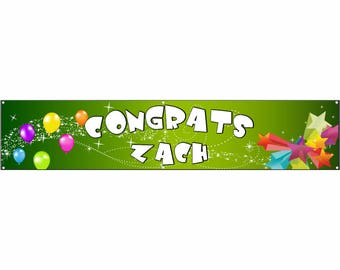 Congrats Green Vinyl Banner Single Sided with Grommets