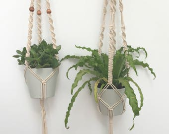 Macrame Plant Hangers, Set of 2, Hanging Planters, Indoor Planters, Indoor Hanging Planters, Modern Macrame, Macrame Planters, Plant Hanger
