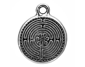 3 TierraCast Labyrinth 13/16 inch ( 20 mm ) Silver Plated Pewter Charms