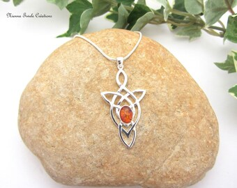 Celtic elvish silver amber necklace, precious stone, french handmade, stone jewelry