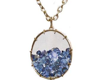 Blue Sapphire Shaker Necklace - Oval - 18k