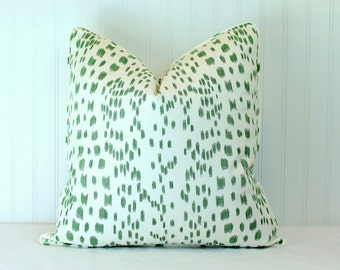 One or Both Sides - Brunschwig & Fils Les Touches Green Pillow Cover with Self Cording