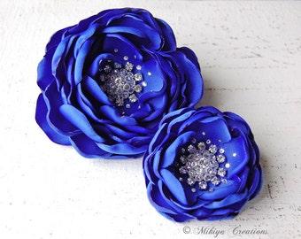 Bridal Hair Flowers - Sash Accessory 2 Piece Set - Royal Blue Blooms