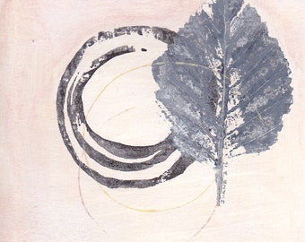 Enso I - September 2016, abstract painting on paper, 4 x 4, small art work