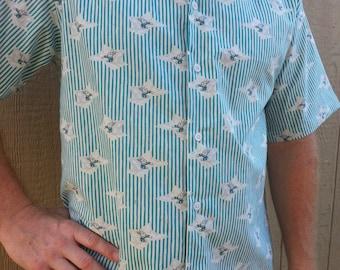 Men's Organic Cotton Short Sleeve Button Down Dress Shirt - Teal and White Stripe - Good Night Moon H853