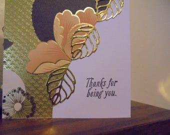 Greeting Card, Blank, Gold, Orange, Leafs,Card, Thank You