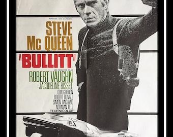 BULLITT (1968) Steve McQueenVery Rare 24x32 Fold French Moyenne Movie Poster Original Vintage Collectible
