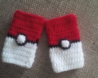 Pokemon gloves, pokeball arm warmers, Pokemon crochet gloves, pokeball fingerless gloves, pokeball gloves, child Pokemon gloves