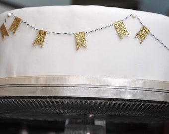 Gold Glitter flag cake garland bunting on bakers twine