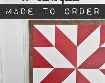 11 x 11 inch Wood Barn Quilt - Hand-Painted Wooden Sign