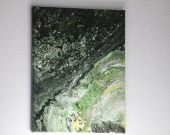 Abstract Acrylic Flow Painting - Green Formation