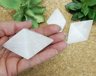 Selenite Double Pyramid - Polished Octahedron Selenite Stone - Reiki - Metaphysical - Sacred Geometry (RK80B2)