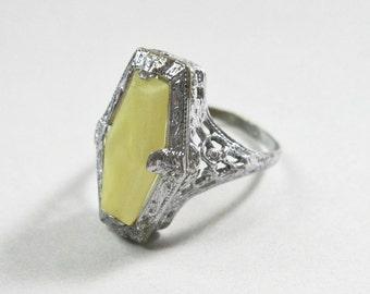 Art Deco Filigree Ring - Uncas - Yellow Opaque - Silver Tone - 1920s