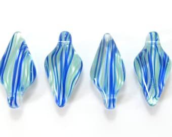 Long Blue and Mint Green Striped Czech Glass Daggers, 22mm - 4 pieces