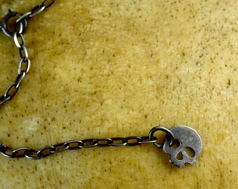 Sterling Silver Skull Lariat Necklace - Skull Jewelry -Y Necklace Lariat Necklace - Stocking Stuffer - Gift for Her - Holiday Jewelry
