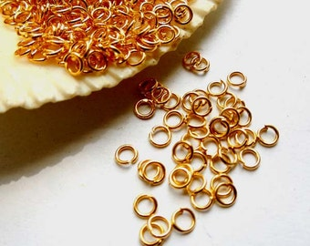 100 Gold Plated Jump Rings 3mm, Open Loop - 8-1