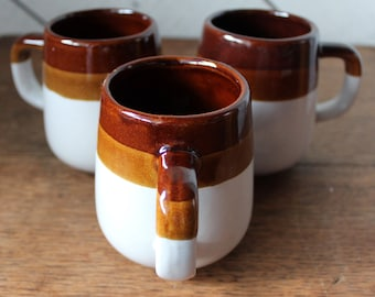 Set of Three 1970s Stoneware Mugs