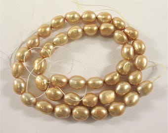 8 x 10mm High Luster Champagne Rice Nugget Freshwater Pearl Beads, Genuine Freshwater Pearl Nuggets, Cultured Champagne Pearl (302-NRCP0810)