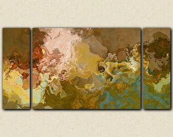 "Oversize contemporary triptych, 30x60 to 40x78 stretched canvas print in earth tones, from abstract painting ""Far Rolling Voices"""