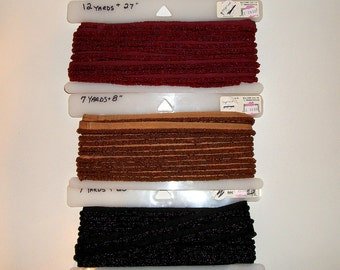 """Glass Beaded Cord Trim Fringe With Sewing Lip 1/4"""" In Ruby Red Black and Gold"""