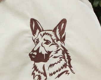 German shepherd embroidered on tote cotton canvas shopping bag