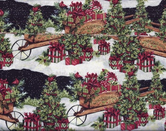 Christmas Curtain Valance Winter Carts