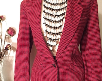 Vintage Red and Black Houndstooth Button Front Blazer.Medium