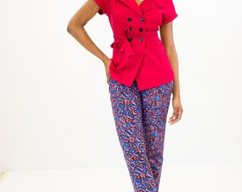 Floral pattern in red and blue cigarette pants